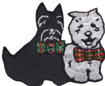 Scotland Scottie & Westie Dogs Embroidered Badge (a454)